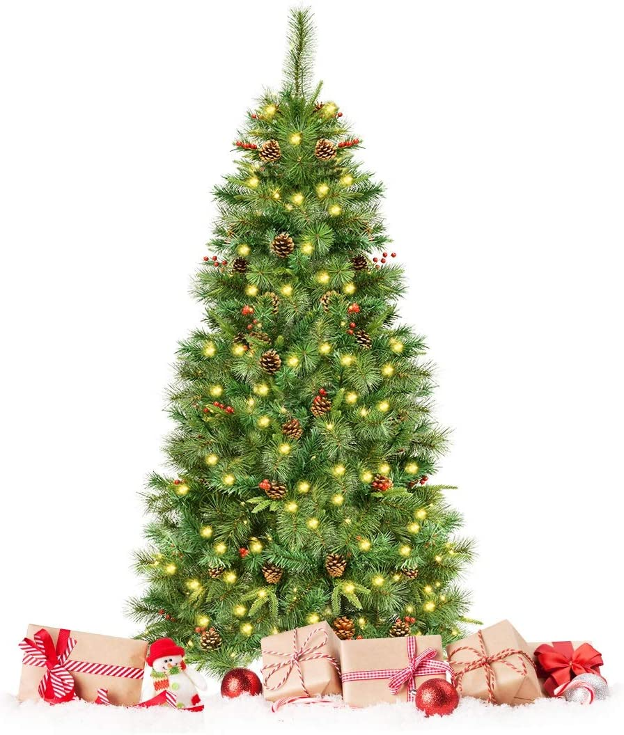Happygrill 6FT Pre-lit Artificial Christmas 期間限定お試し価格 Hinged Pine Tree 期間限定 Chr