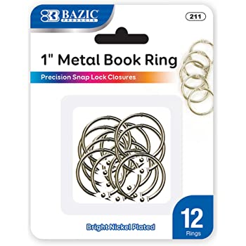 BAZIC 1 Inch Silver Metal Book Rings, Loose Leaf Binder Book Flash Cards Keychain Flashcards Index Card Key Ring for School Home Office (12/Pack), 1-Pack