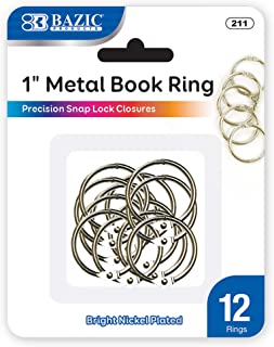 BAZIC 1 Inch Silver Metal Book Rings, Loose Leaf Binder Book Flash Cards Keychain Flashcards Index Card Key Ring for School Home Office (12/Pack)