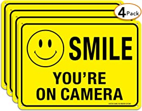 (4 Pack)Faittoo Smile You're On Camera Sign, 10x7 Reflective Rust Free .40 Aluminum, UV Protected, Weather Resistant, Durable Ink, Indoor & Outdoor Use for Home Business CCTV Security Camera