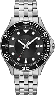 Caravelle Designed by Bulova Men's Quartz Watch with Stainless-Steel Strap, Silver, 19.5 (Model: 43B162)