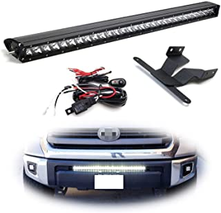 iJDMTOY Lower Grille Mount 30-Inch LED Light Bar Kit For 2014-up Toyota Tundra, Includes (1) 150W High Power CREE LED Lightbar, Lower Bumper Opening Mounting Brackets & On/Off Switch Wiring Kit