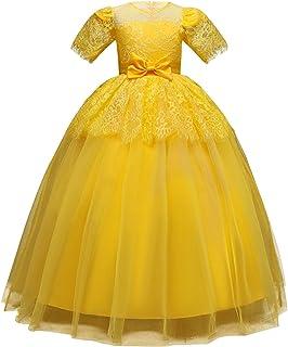 Vestido de princesa de las niñas Vestido largo de los niños vestido de novia de encaje vestido de las muchachas mullidas d...