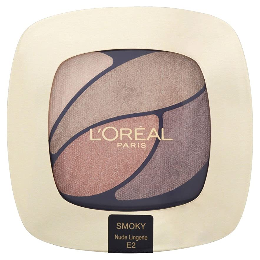 ポルトガル語単に縞模様のL'Oreal Paris Color Riche Eye Shadow Quad - E2 Beloved Nude/Nude Lingerie L'オラ?アルパリ色リッシュアイシャドウクワッド - E2最愛ヌード/ヌードランジェリー [並行輸入品]