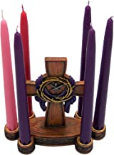 Lenten Candleholder Featuring a Cross with a Purple Robe, Nails and a Crown of Thorns, Includes Taper Candle Set, 10 Inches