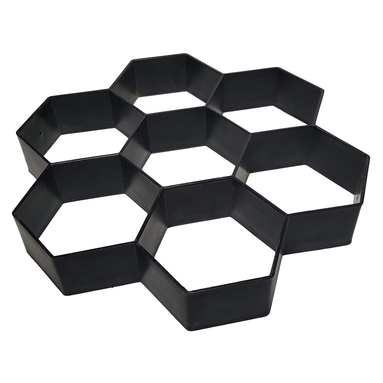 ホバート微弱急襲[マローサム] 庭 の 舗装 手造り 踏み石 石畳 六角 金型 枠 プラスチック 製 30×30×5㎝ 7穴 黒 ブラック