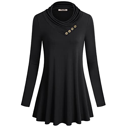 Hibelle Women s Long Sleeve Cowl Neck Form Fitting Casual Tunic Top Blouse 84118b854
