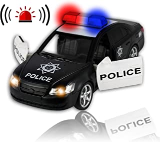WolVol Friction Powered Police Car - Push & Go Heavy Duty Plastic Vehicle Toy - Lights & Siren Sounds - Innovative Motor Skills Enhancement for Kids & Toddlers