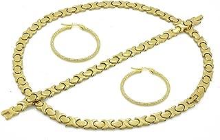 SPARKLE XOXO Womens Gold Finish Hugs & Kisses Necklace Bracelet Set with Hoop Earring