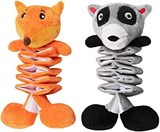 AWOOF 2 Pack Dog Stuffed Toys Dog Crinkle Toy Stretchable Animal Plush Toy, Squeaky Interactive Dog Toys, Relieve Boredom ...
