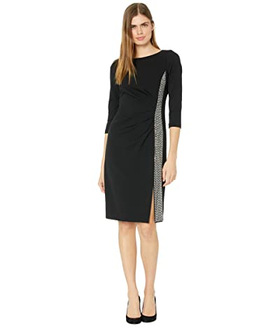 Calvin Klein 3/4 Sleeve Dress with Embellished Side Detail (Black) Women