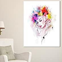 "Designart PT8250-20-40 Girl with Flowers Wreath Portrait Digital Art canvas Print,,20x40"""