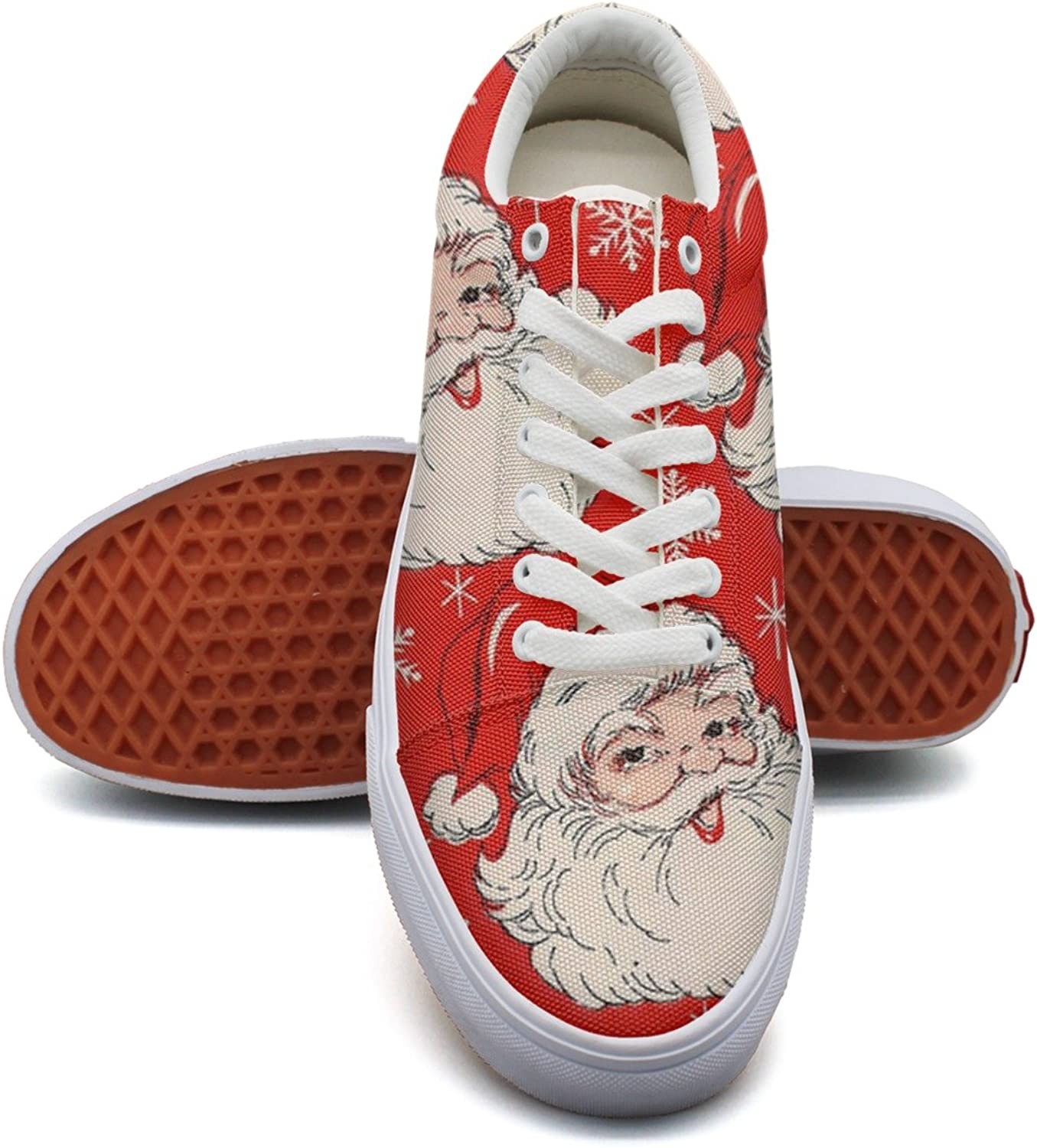 Red Hat Christmas Santa Fashion Canvas Sneakers shoes For Womns 3D Printed Low Top Running shoes