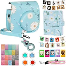 Cpano Instax Mini Camera Case Accessories Bundle  Compatible with Instax Mini Include Case Album Selfie Lens Filters Wall Hang Frames Film Frames Border Stickers  Blue Daisy