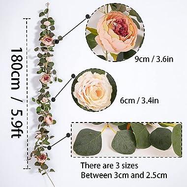 MISSPIN 2pcs Artificial Flowers Garland Eucalyptus Garland Vintage Fake Flower Peony Rose Vine Greenery Decorative Wall Hangi