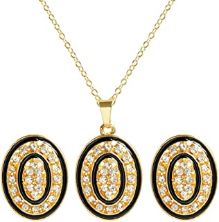 CHOA Fashion Oval Necklace and Earrings Gold Ellipse Crystal Jewelry Set for Women