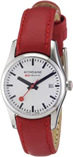 Mondaine - A629.30341.11SBC.XL - Reloj de Mujer de Cuarzo (Suizo), Correa de Piel Color Rojo