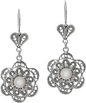 925 Sterling Silver Hittite Sun Flower Dangle Drop Filigree Earrings