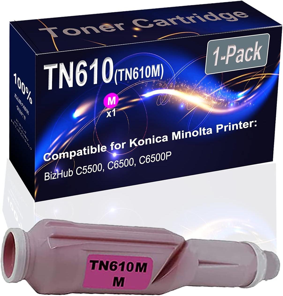 1-Pack (Magenta) Compatible BizHub C5500 C6500 Laser Toner Cartridge (High Capacity) Replacement for Konica Minolta TN610 (TN610M) Printer Toner Cartridge