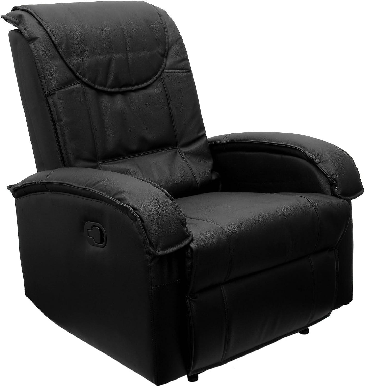 STILISTA TV Relaxsessel aus Echtleder, mit ausklappbarer Fustütze, Bequeme Polsterung, Farbe schwarz, schadstoffgeprüft