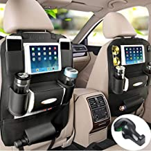 Fincy Palmoo Pu Leather Car Seat Back Organizer and iPad Mini Holder, Universal Use as Car Backseat Organizer for Kids, Storage Bottles, Tissue Box, Toys (Black - 1 Pack)