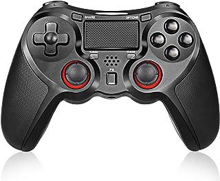 PS4 コントローラー ワイヤレスコントロ ーラー PS4 Pro/Slim PC対応 HD振動 連射 ゲームパッド ゲームコントローラー USB Bluetooth 接続 イヤホンジャック スピーカー内蔵 高耐久ボタン ブラック