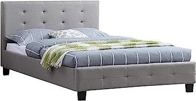IDIMEX Lit Simple pour Adulte Marlon Couchage 120 x 190 cm avec sommier 1 Place et Demi / 1 Personne, tête et Pied de lit capitonnés, revêtement en Tissu Gris