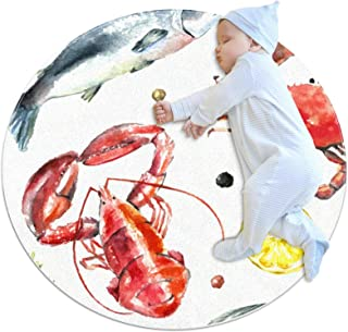 Soft Round Area Rug 80x80cm/31.5x31.5IN Anti-Slip Floor Circle Mats Absorbent Memory Sponge Standing Mat,Lobster Fish