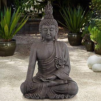 "John Timberland Asian Zen Buddha Indoor Outdoor Statue 42"" High Sitting for Yard Garden Patio Deck Home Entryway Hallway"