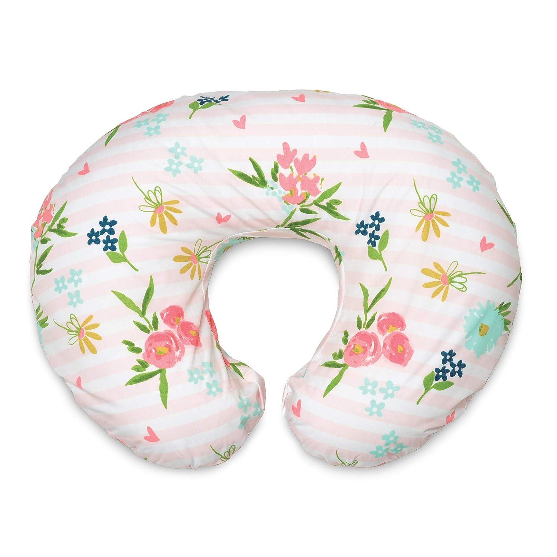 Boppy Original Nursing Pillow & Positioner, Pink Floral Stripe, Cotton Blend Fabric with Allover Fashion