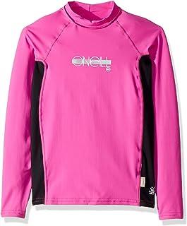O'Neill Girls Premium Skins UPF 50+ Long Sleeve Rash Guard, Berry/Black, 14