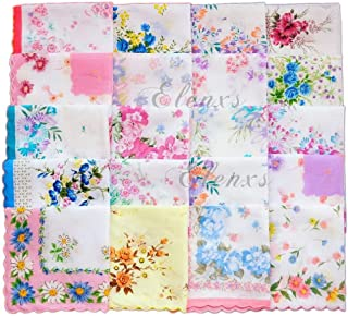 SM SunniMix 10pcs Frauen Niedlichen Quadratischen Taschentuch Blume Taschentuch Hochzeitsfeier 100/% Baumwolle