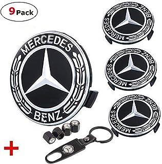 Toolacc 4 Pack for Benz Wheel Center Hub Caps Emblem, 75mm Black Car Rim Hub Cover Logo + 4 Pack Car Tire Valve Air Caps F...