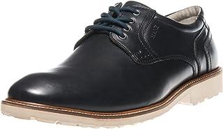Manz - Zapatos de Cordones de Piel Lisa para Hombre Azul Azul Oscuro