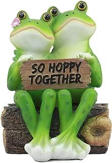 Ebros Romantic Wedding Frog Couple Sitting On Wooden Log Statue