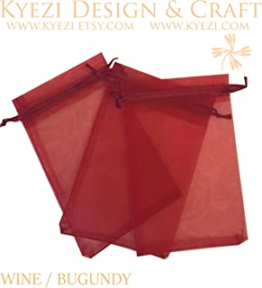 300 Pcs Burgundy 5x7 Sheer Drawstring Organza Bags Jewelry Pouches Wedding Party Favor Gift Bags Gift Bags Candy Bags [Kyezi Design and Craft]