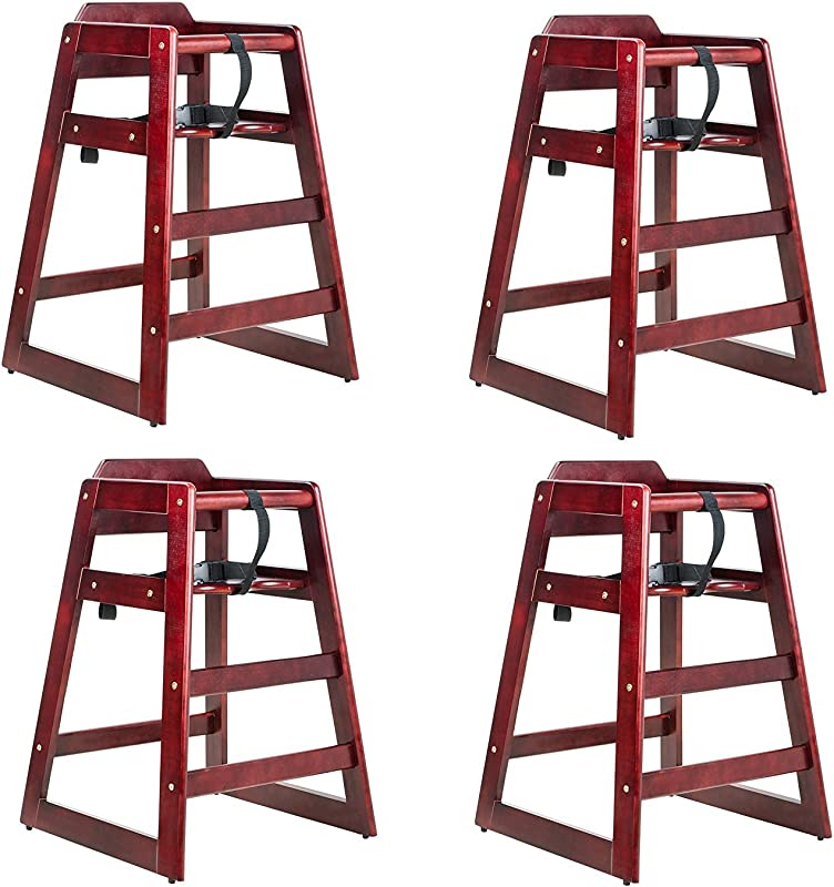 Mahogany Finish Stacking Restaurant Wood High Chair 4 PACK Solid Wood