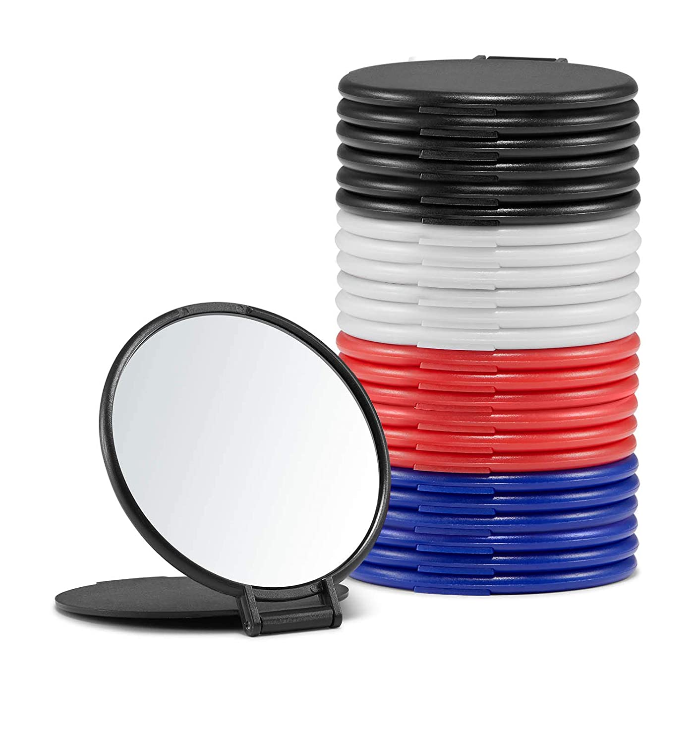 Compact Mirror Bulk, Round Makeup Mirror for Purse, Set of 24 (4-Color)