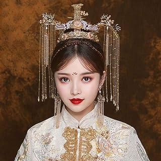 JJZXD Traditional Coronet Long Tassel Hairwear Cheongsam Bridal Headdress Wedding Hair Accessories