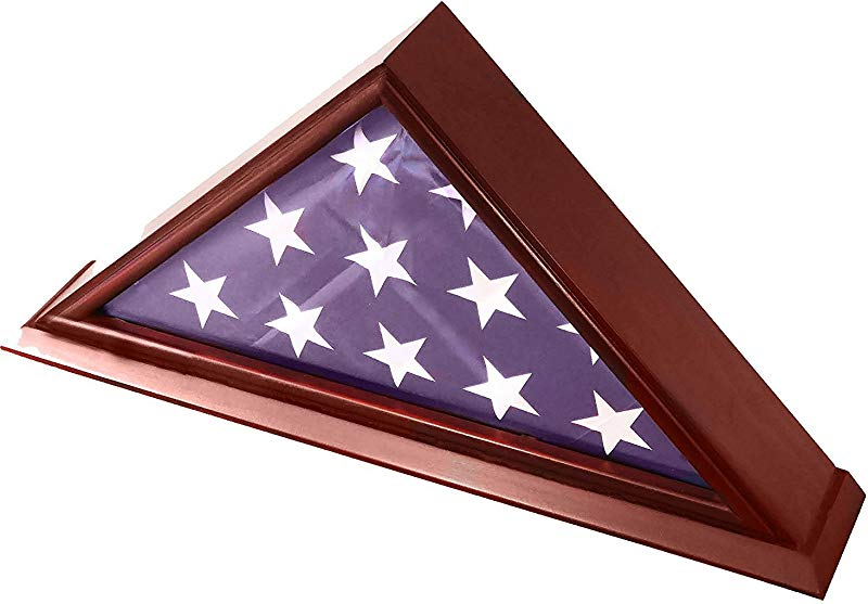DECOMIL 5x9 Burial Funeral Veteran Flag Elegant Display Case With Base Solid Wood Cherry Finish
