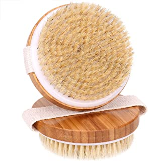 ALLYAOFA Dry Skin Body Brush with 100% Natural Bristles Bamboo Wood, Improves Skin's Health and Beauty Remove Dead Skin An...