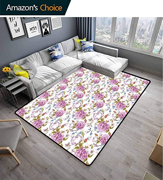 Floral Vegetables Area Rug Boys Room Vintage Pastel Spring Scene With Hydrangea Blooms Garden Therapy Showy Birds Image Easy Maintenance Area Rug Living Room Bedroom Carpet 2 5 X 9