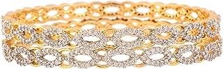 American Diamond Zircon Fashion Jewelry Indian Bangle Set (2 Pieces) 2.6