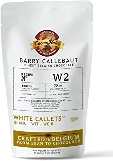 2 LB Barry Callebaut White Chocolate Callets | 28% Cocoa | Belgian White Chocolate Chips | Resealable Stand Up Pouch | W2NV-595