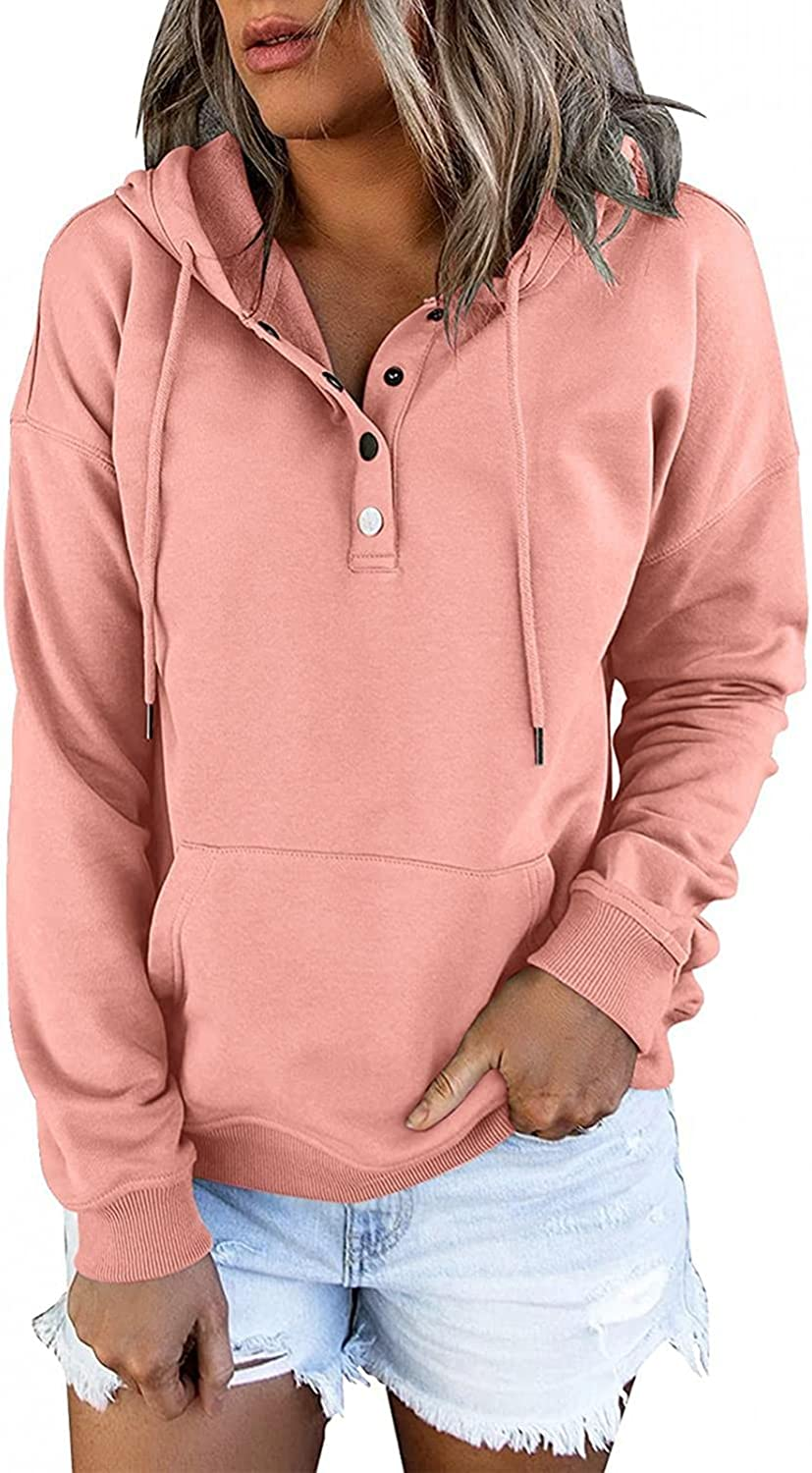Jaqqra Hoodies for Women Button Down Long Sleeve Hoodie Tops Solid Drawstring Sweatshirts Loose Hooded Pullover Shirts