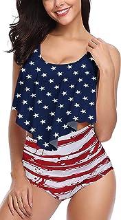 126ff51be01e Angerella Women Ruffled Overlay High Waist Tankini Tummy Control Bathing  Suits