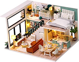 simhoa DIY Miniature Dollhouse Kit with Furniture Wooden House - Without Dust Proof, 245x205x150mm