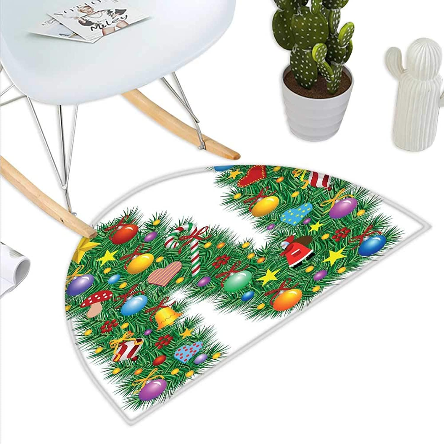 Letter N Semicircle Doormat Capital N in Green color with Coniferous Leaves Bells Bowknots Hearts and Stars Halfmoon doormats H 39.3  xD 59  Multicolor