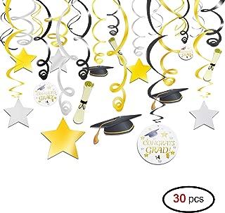 Konsait Graduation Party Hanging Swirl Decorations Ceiling Decor With Graduation Hat Cap & Diplomas,Black Gold Silver Graduation Accessories For Graduation Party Decorations Supplies Favors(Pack of 30