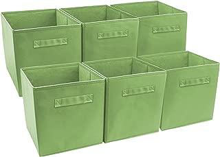 Sorbus Foldable Storage Cube Basket Bin, Green, Pack of 6